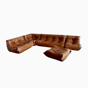 Vintage Cognac Leather Togo Living Room Set by Michel Ducaroy for Ligne Roset, 1983