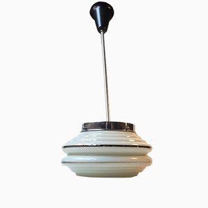 Lampe à Suspension Plissée en Verre Opalin Funkis de Lyfa, Danemark, 1930s