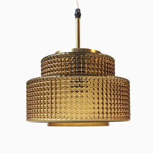 Danish Modern Glass & Brass Pendant from Vitrika, 1960s