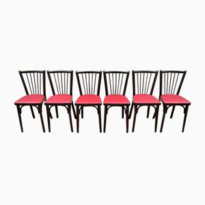 Mid-Century N ° 12 Red Skai Chairs from Baumann, Set of 6