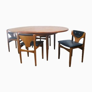 Mid-Century Extending Dining Table & 4 Low Back Dining Chairs from G-Plan, 1970s