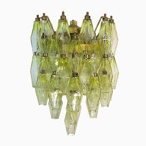 Yellow Vintage Murano Poliedri Glass Sconce from Venini, 1970s