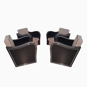 Art Deco Lounge Chairs, 1920s, Set of 4