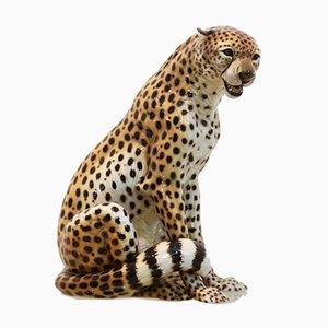 Hand Painted Porcelain Leopard Sculpture from Ronzan, 1970s