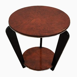 Art Deco Side Table with Burl Veneer, 1930s
