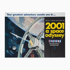 Affiche 2001 A Space Odyssey Cinerama UK Quad par Bob McCall, 1968