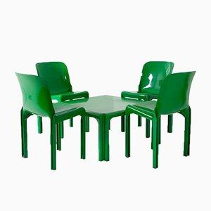 Selene Tisch und 4 Stühle von Vico Magistretti für Artemide, 1971