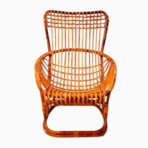 BP4 Armlehnstuhl aus Korbgeflecht von Tito Agnoli für Pierantonio Bonacina, 1963