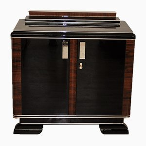 Art Deco Square-Shaped Cabinet with Large Chrome Handles, 1930s