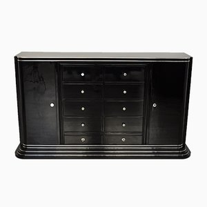 Black Art Deco Highboard with Ten Drawers, 1920s