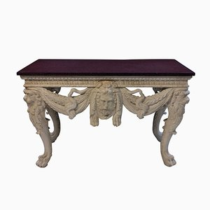 Large Console Table with Solid Porphyry Top