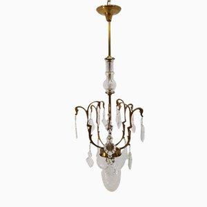 Lampada a sospensione vintage in bronzo e cristallo