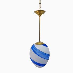 Lampada a sospensone vintage in vetro di Murano ed ottone