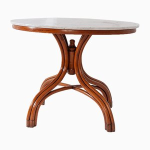 Vintage Bentwood & Carrara Marble Center Table from Thonet