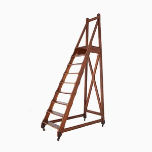 Antique Oak Library Ladder