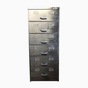 Vintage Industrial Metal 6-Drawer Filing Cabinet
