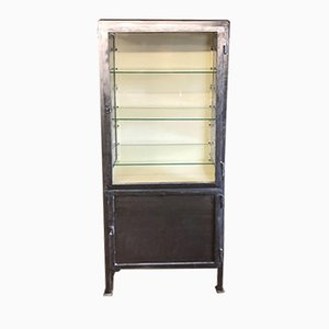 Vintage Industrial Stripped Metal Display Cabinet