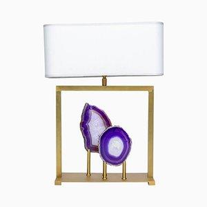 Lámpara de mesa de latón y ágata morada de Glustin Luminaires, 2015