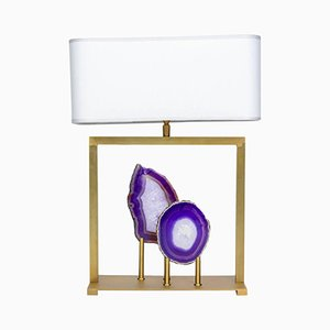 Tischlampe aus lila Achat & Messing von Glustin Luminaires, 2015