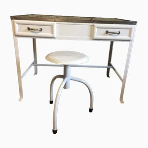 Vintage Industrial Metal Medical Office Desk & Stool