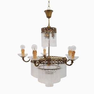 Lámpara de araña Imperio antigua de vidrio y bronce de Vicente Cebriá para Lámparas Cebriá
