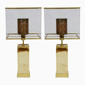 Rectangular Brass Lamps with Plexiglass Lampshades from Glustin Luminaires, 2018, Set of 2