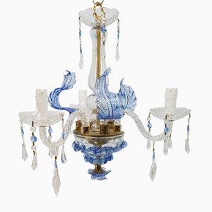 Lámpara de araña de cristal veneciano azul, años 50