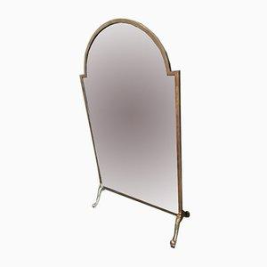 Pantalla de chimenea vintage de vidrio espejo y latón macizo