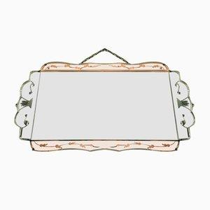 Art Deco Beveled Mirror with Peach Decoration
