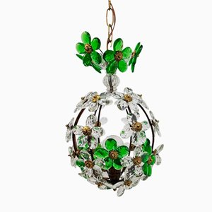 Vintage Spanish Crystal Flower Pendant Lamp