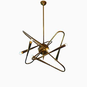 Sputnik Brass Chandelier from Stilnovo, 1980s