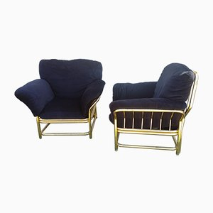 Mid-Century Gold Metal Lounge Chairs, Set of 2