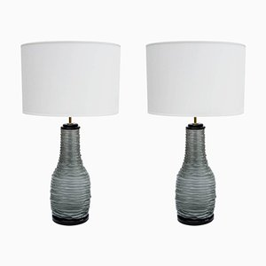 Grey and Black Murano Glass Table Lamps, 1980s, Set of 2