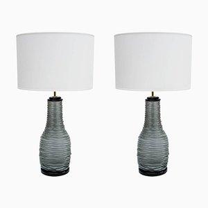 Lampes de Bureau Grises & Noires en Verre Murano, 1980s, Set de 2