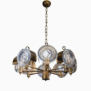 Small Brass & Glass Chandelier by Gaetano Sciolari, 1970s