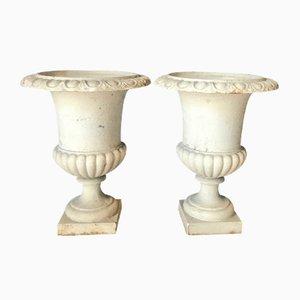Antike Medici Vase oder Pflanzer aus Gusseisen, 2er Set