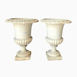 Antique Cast Iron Medici Vases or Planters, Set of 2