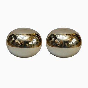 Lámparas en forma de guijarro de vidrio doradas, años 70. Juego de 2