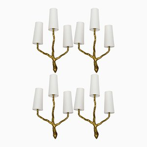 Hammered Bronze Wall Sconces from Maison Arlus, Set of 4