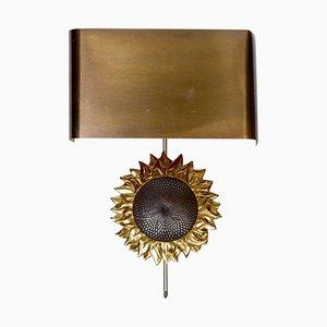 Aplique de pared con girasol de bronce de Maison Charles, años 70