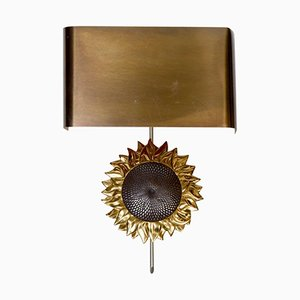 Bronze Sunflower Wall Sconce from Maison Charles, 1970s