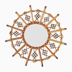 Rattan Sunburst Mirror, 1960s