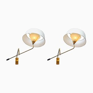 Adjustable Brass Arm Wall Sconces with Shade, 1960s, Set of 2