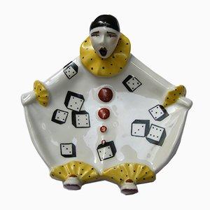Vintage Pierrot Vide Poche aus Keramik von Henri Delcourt
