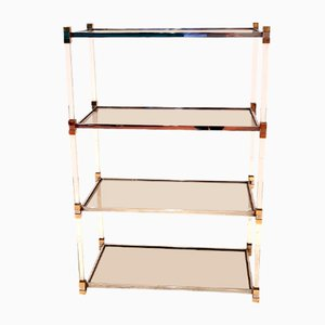 Brass, Chrome, Lucite & Glass Shelves by Romeo Rega, 1980s