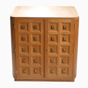Small Art Deco Oak & Brass Cabinet, 1940s