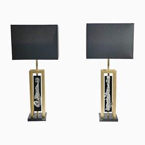 Lámparas de mesa grandes de latón de Philippe Cheverny, años 70. Juego de 2