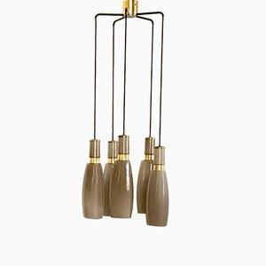 5-Lampen Kronleuchter in Graubraun von Stilnovo, 1950er