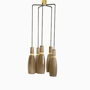 5-Light Taupe Chandelier from Stilnovo, 1950s