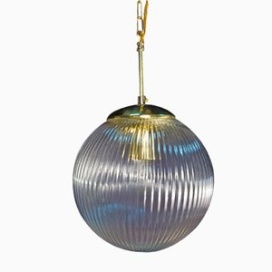 Vintage Glass Pendant Light with Brass Fittings, 1970s